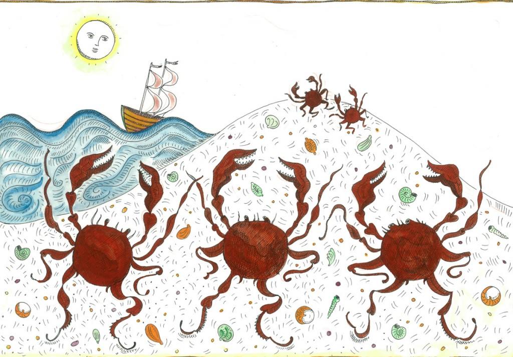 Alexandra Zuckerman, Dancing crabs, 29.7x42cm, 2014