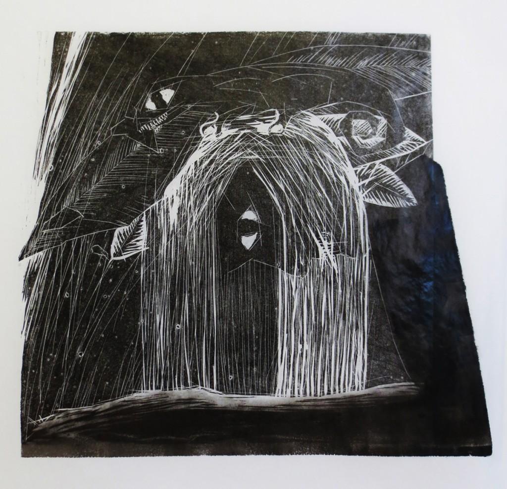 Canibals, woodcut print (monotype), 50x50cm, 2015