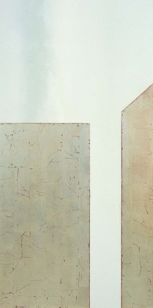 Untitled, Tempura and gold leaf on gesso on wood, 40x80, 2002