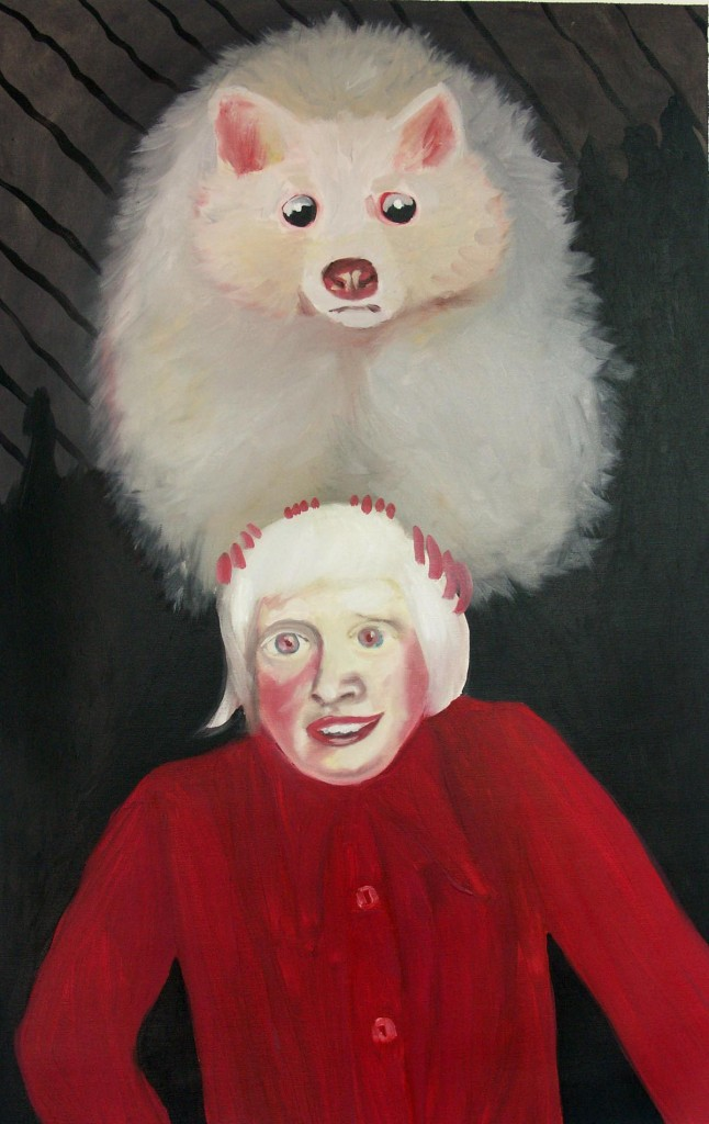 Albino boy & a Racoon, oil on canvas, 84x55cm, 2006