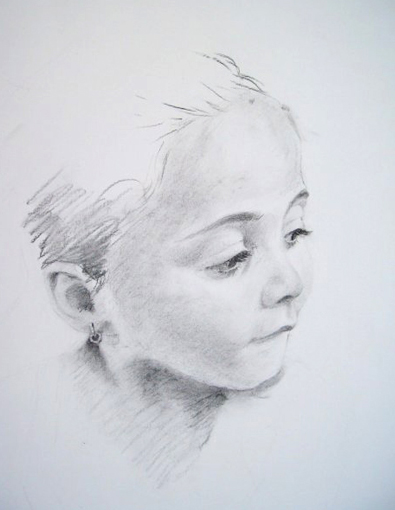 Michael Halak, Angelina, Charcoal on Paper, 60x50cm, 2009