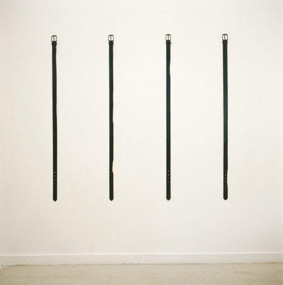 Lea Avital, Belts, Leather belts, nails, whitewash, acrylic paint, 120x4cm each, 2002