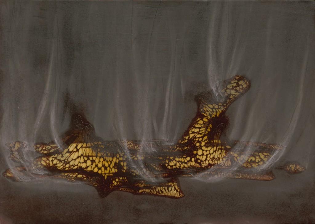 Talia Keinan, Burning wood, Mixed media on paper, 24.5x34.5cm, 2010