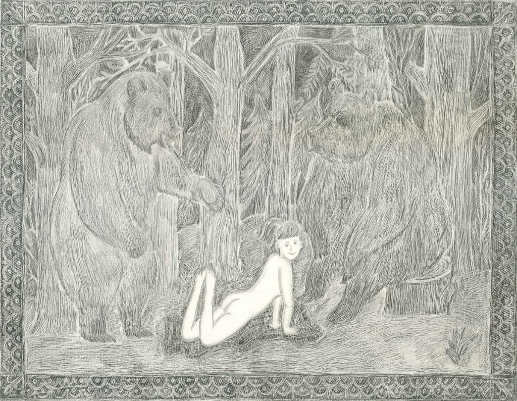Alexandra Zuckerman, Girl with Two Bears, Pencil on paper, 42x29.7cm, 2012