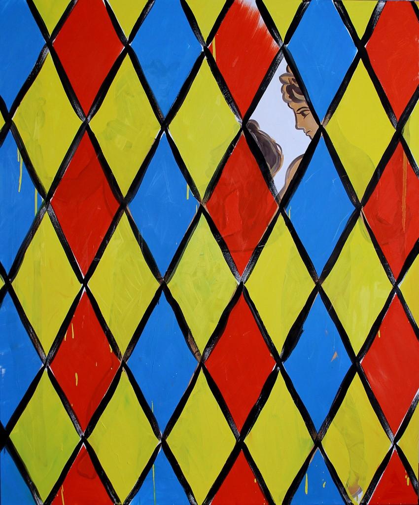 Untitlled (Diamond masks), Oil on Canvas, 145x175cm, 2013