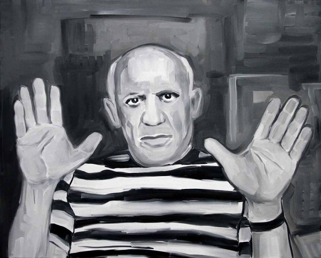 Untitled 2 (Picasso raising hands), filled, oil on canvas, 81x65cm, 2013