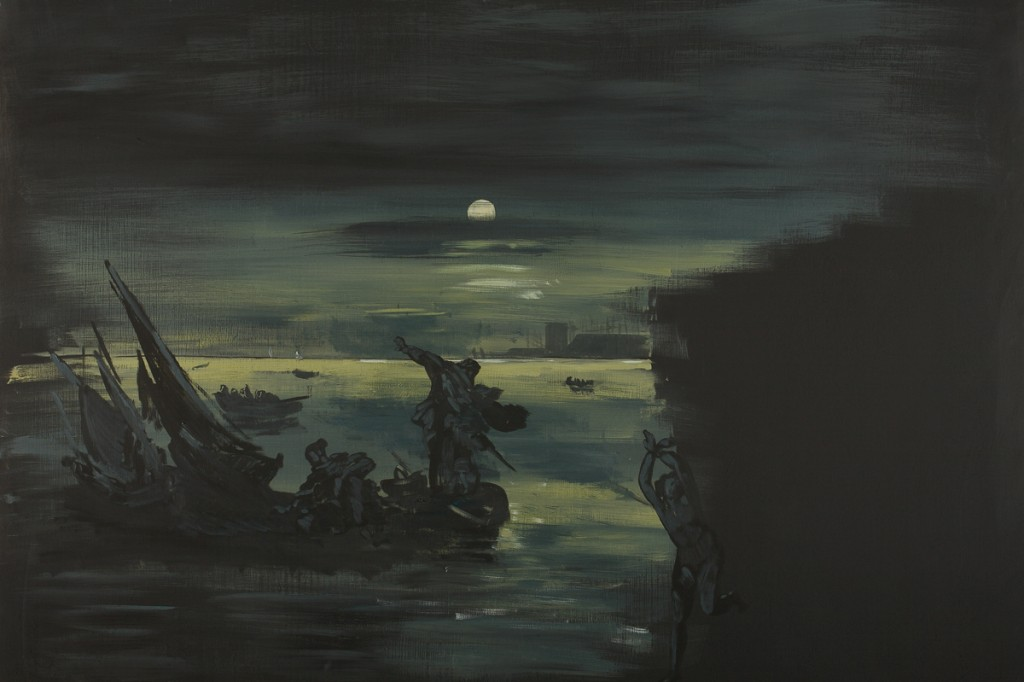 Eti Jacobi, Landscape with a Girl and Boats , Acrylic on Plywood, 80x120cm, 2007