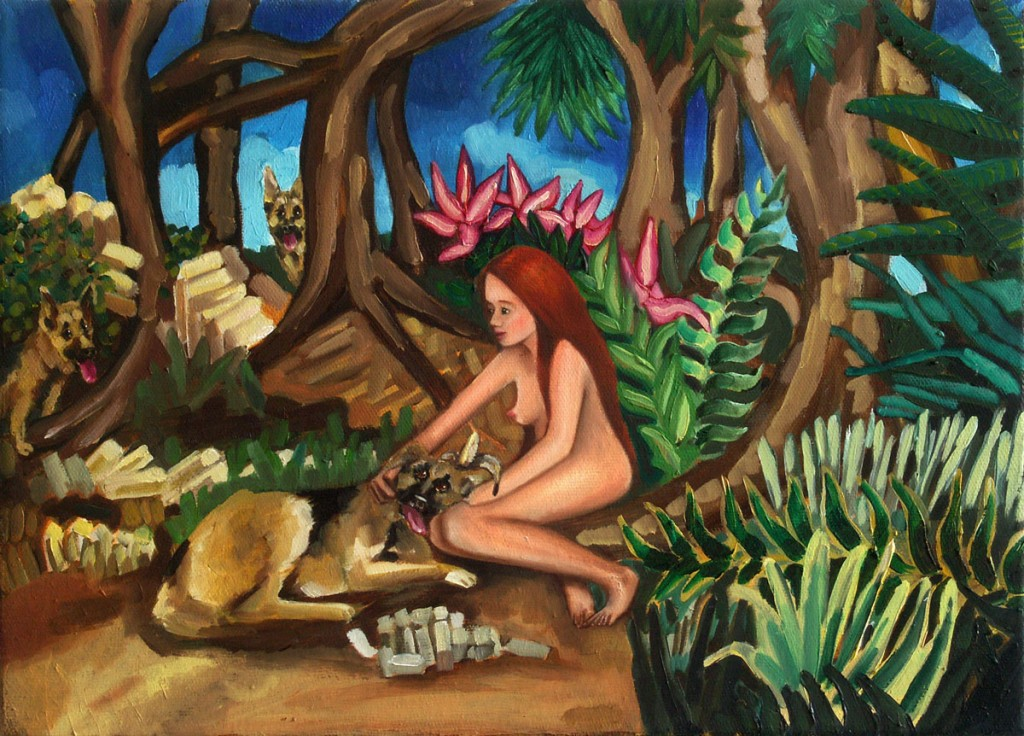 Lilliane in the Forest of the Dogs, oil on canvas, Lilliane in the Forest of the Dogs, oil on canvas, 25x35cm, 2010