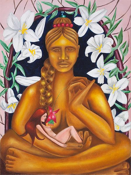 Lilliane on the Lap of the Goddess of Flower Art, oil on canvas, 40x30cm, 2010