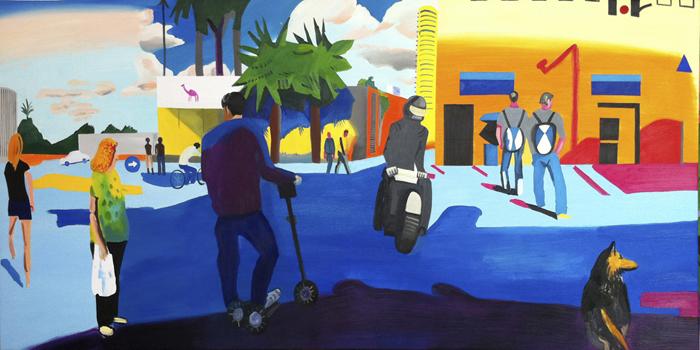 Crossing Sderot Yerushalaim Dereh Eilat, oil on canvas,94x195cm, 2011