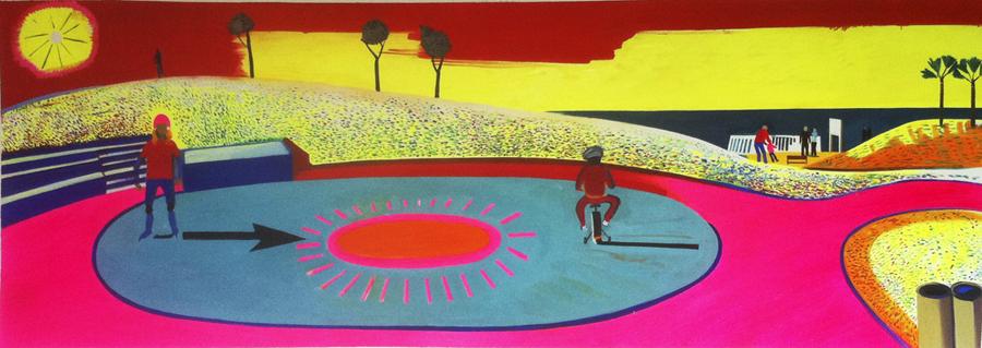 Ester Skating, Park Jaffa, oil on canvas, 90 x 253cm, 2012