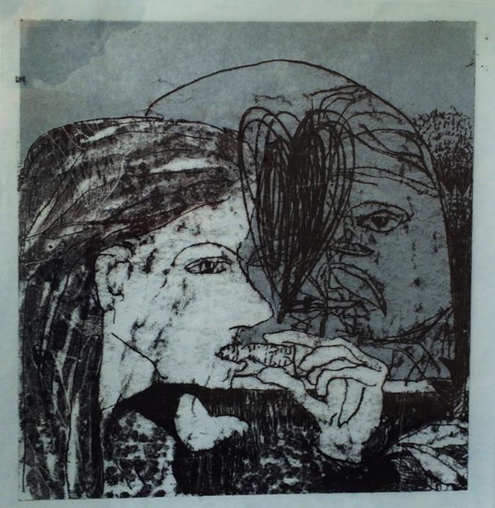 Shahar Yahalom, Neri & I, Monotype on Blue paper, 70x63cm, 2015