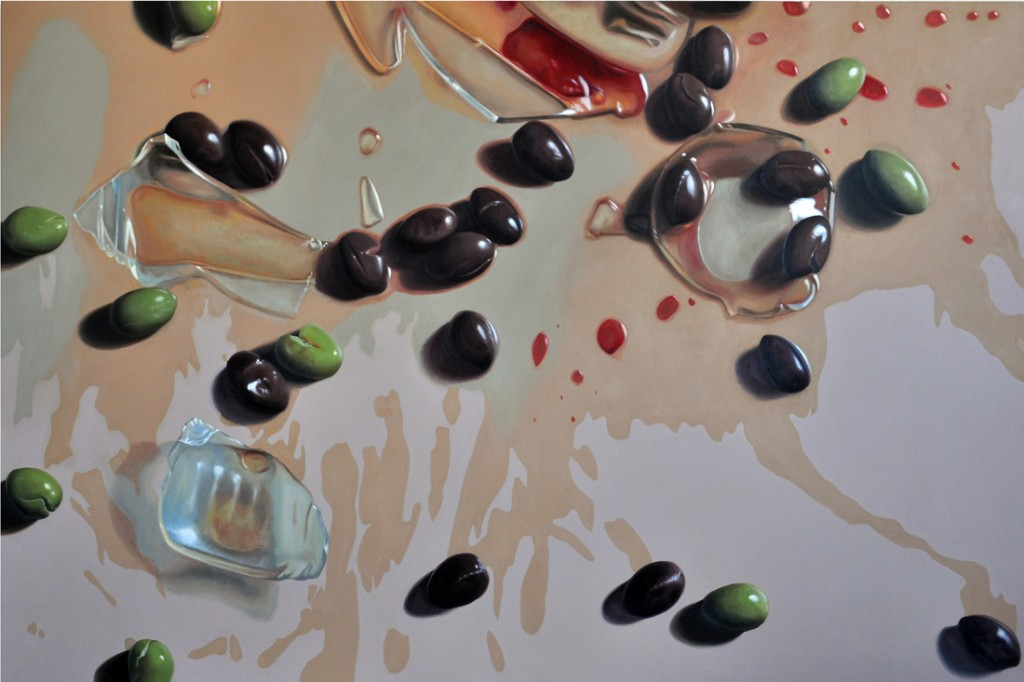 Michael Halak, Olive, Olive Oil and Oil Press, Oil on canvas, 180x120cm, 2014