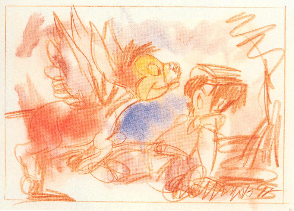 Eti Jacobi, Pepito Had Never Seen Winged Donkeys, water colors on paper, 50x40cm, 1997
