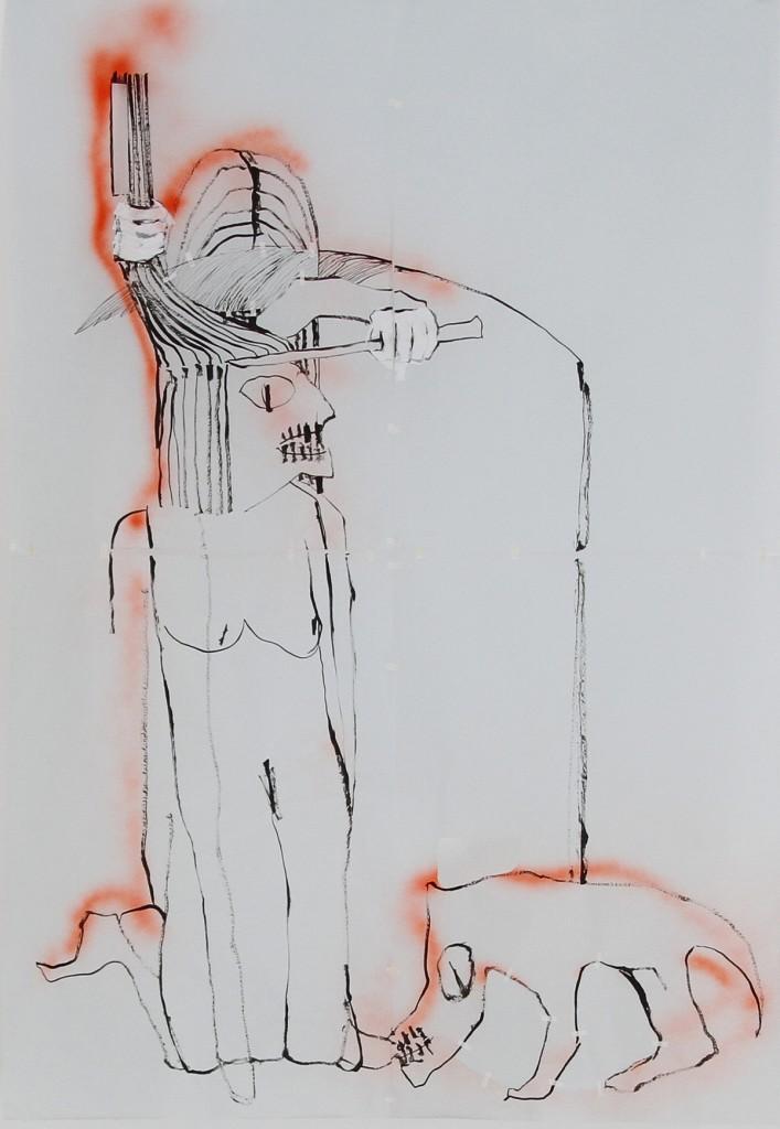 Shahar Yahalom, Scalper, Ink & Spray on Blue paper, 190x130cm, 2015