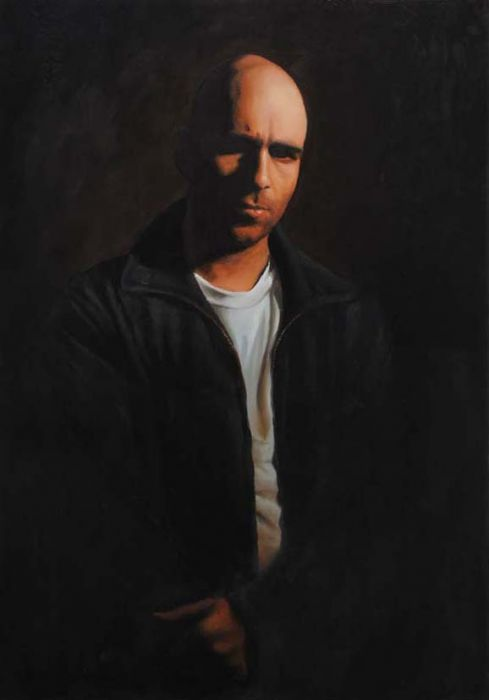 Michael Halak, Self-Portrait, Oil on Plywood, 55x40cm, 2008