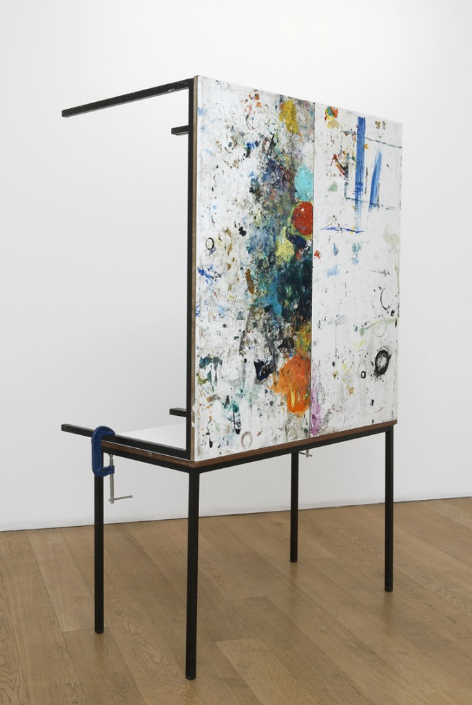 Amikam Toren, Table dâ--hôte, paint, tables, metal clamps, 195x136x73cm, 2008