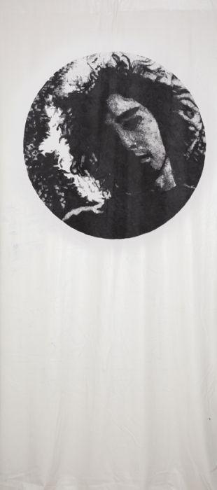 Keren Cytter, Tim Buckley, Sharpie on vinyl on leather fabric, 294x138cm, 2014