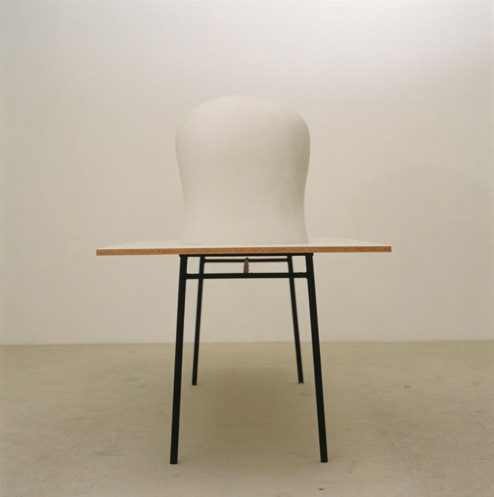 Lea Avital, manhood , Plaster, carkit, formica board, iron table Table: 240x80cm, Chest: 50x45x30cm, 2002