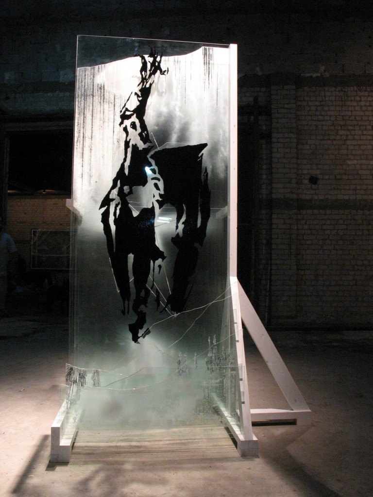 Shahar Yahalom, Untitled, Wood and Industrial Paint on Glass, 250x150x110cm, 2007