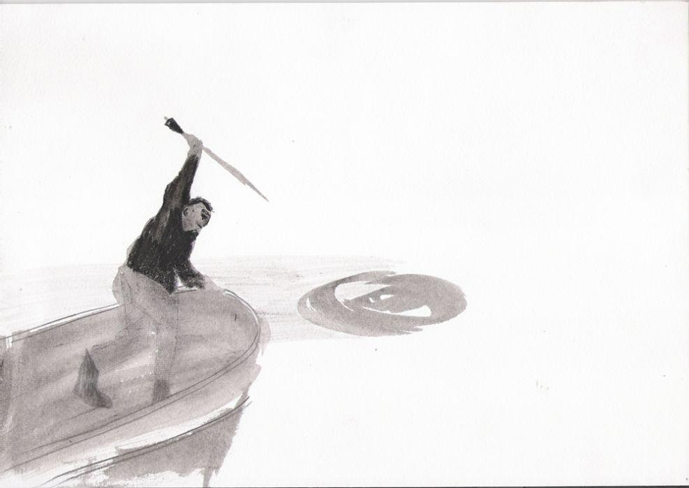 Talia Keinan, Water hunter, Ink on paper, 30x20cm, 2007