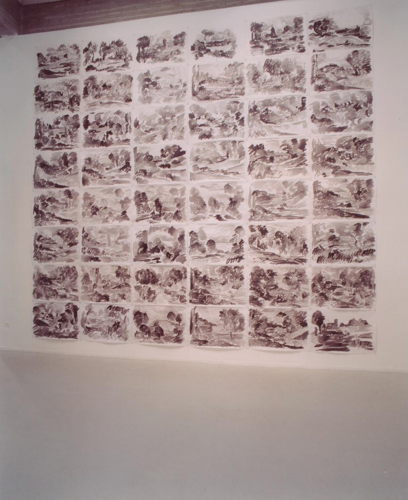 Eti Jacobi, Wizard's Duel, Drawing Installation, Ink on Paper, 560x600cm, (48 Drawings),Tel Aviv Art Museum, 2003