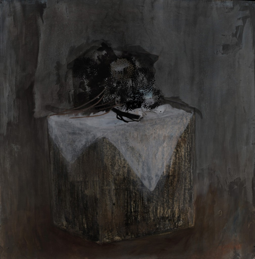 Talia Keinan, Wooden Cube, Ink, oil and charcoal om paper, 110X107cm, 2009