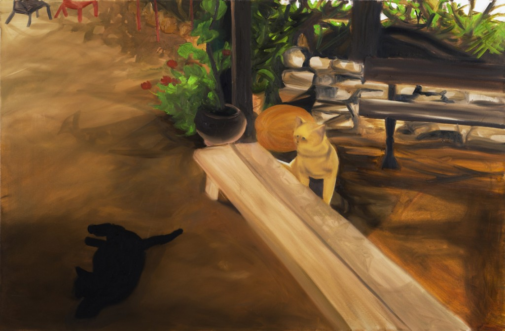 Cat watching a cat, Oil on Canvas, 100X150cm, 2013