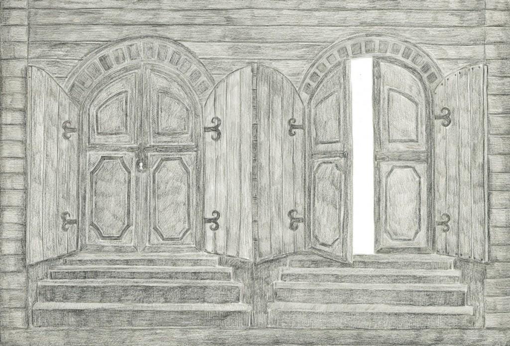 Alexandra Zuckerman, Doors, pencil on paper, 59.4x42cm, 2012