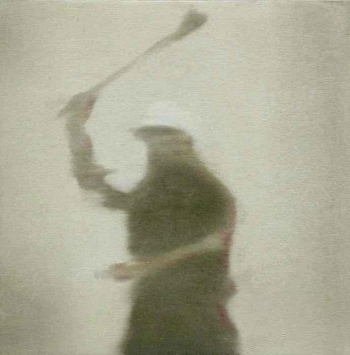Jossef Krispel, Stone thrower, Oil on linen, 35x35cm, 2002