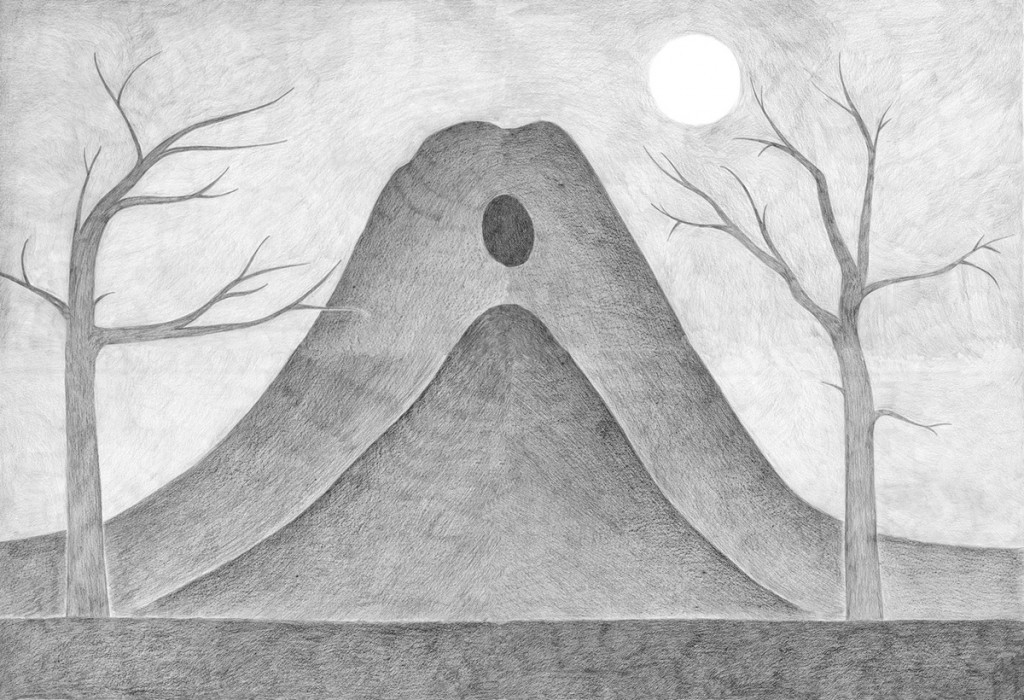 Alexandra Zuckerman, Two mountains with cave, Pencil on paper, 119x84cm, 2012