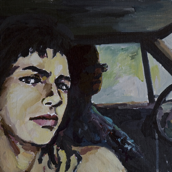 Orly Maiberg, P.J. Harvey I, 30X30cm, watercolor on canvas mounted on cardboard
