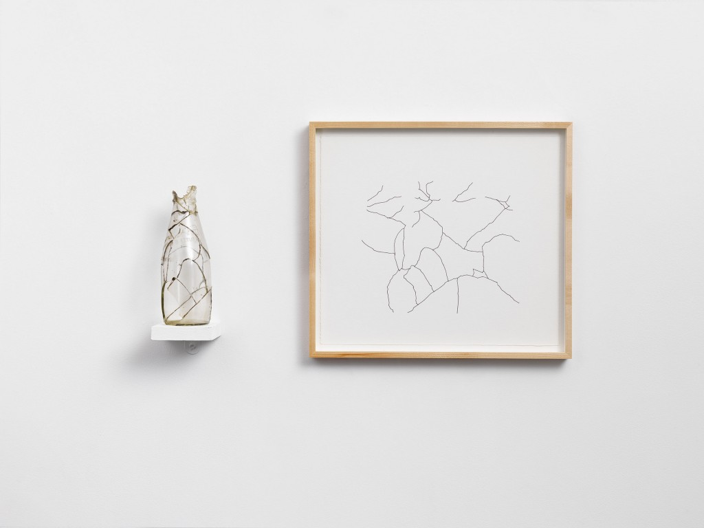 Amikam Toren, Simple Fractions (X), glass, araldite, shelf, framed drawing, print 36 x 40.5cm, sculpture 22x7x7cm, 1975