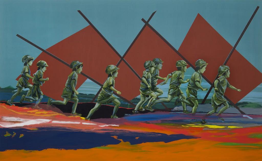 Matan Ben Tolila, The Great Run, Oil on canvas, 210x130cm, 2015