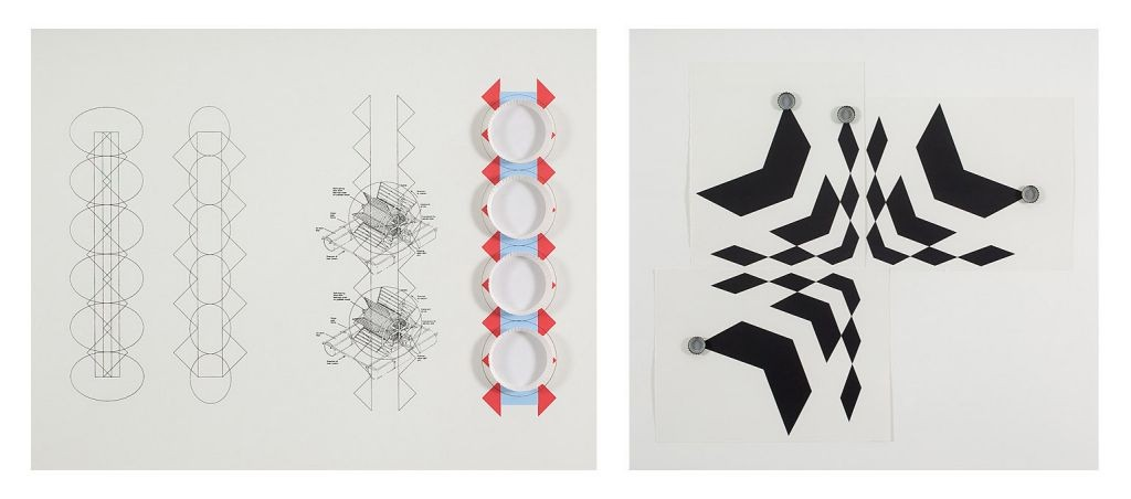 Lea Avital, 2 axis of movements, Screen print with paper cups and beer cups, 2011