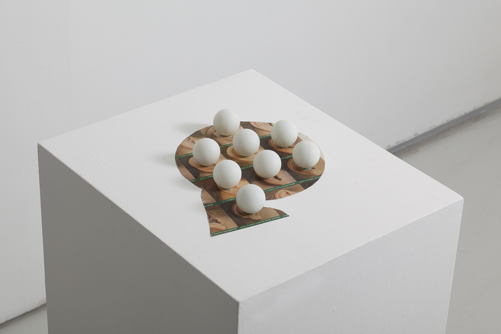 Hearing problems, ping pong balls on newspaper ad, 30x30cm,2011