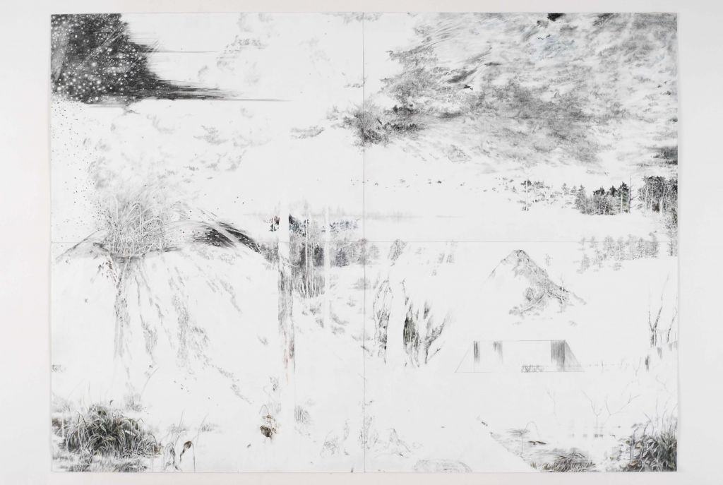 Nogah Engler, Extinguished stars, 2008, graphite on paper 4 piece drawing, 59x82cm
