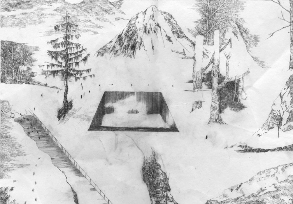Nogah Engler, Hanging Hall, pencil on paper, 50x35cm,2005-2006