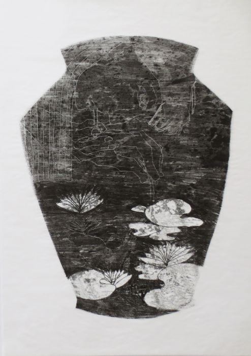 Shahar Yahalom, Glowing Lilies, monoprint, 50x35cm,2015