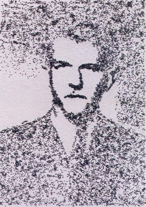 Dina Shenhav, Portrait of evil, beads, glue, on cardboard, 80X120cm, 2002