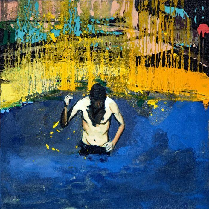 Matan Ben Tolila, Splash, oil on canvas, 51x51 cm, 2014