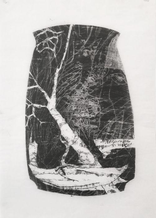 Shahar Yahalom, untitled#4, monoprint, 50x35cm, 2016
