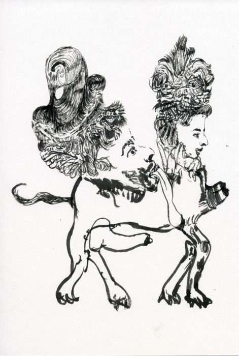 Royal Couple, 2015, ink on paper, A4, Gili Avissar