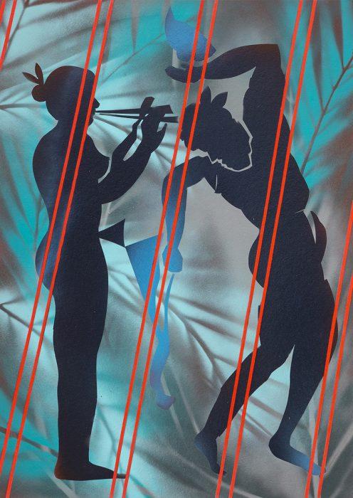 Dance, 2018, Spray paint on cardboard, 70x50cm