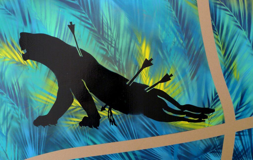Hunted Lioness on Cardboard, 2018, Spray paint on cardboard, 80x130cm