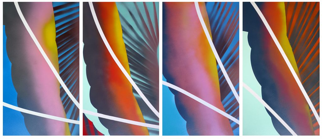 Ornament, Reversed Sunsets, 2018, Spray paint on canvas, 70x40cm each