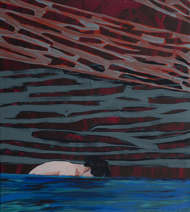 Head in water, 2016, Oil on canvas, 44x39cm