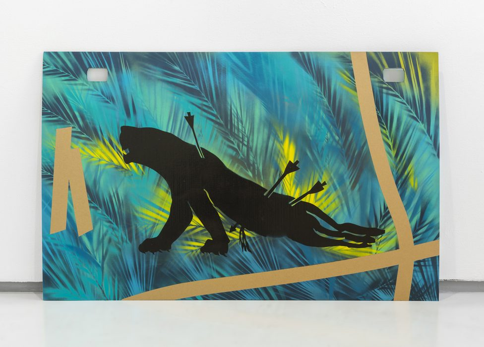 Hunted Lioness on Cardboard, 2018, Spray paint on cardboard, 80x130cm