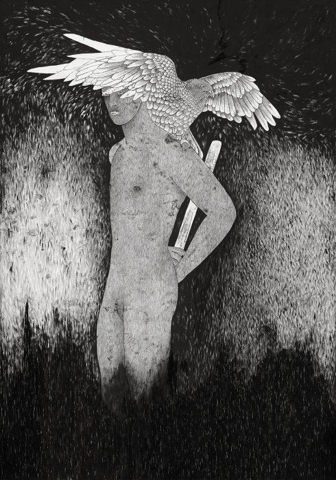 Abel (Nimrod), 2019, Oil & Ink on Paper, 150x110 cm