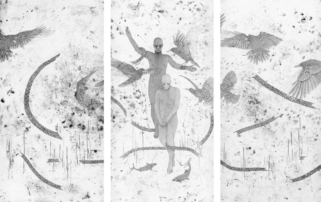 Cain & Abel Triptych, 2019, Oil & Ink on Paper, 300x450cm